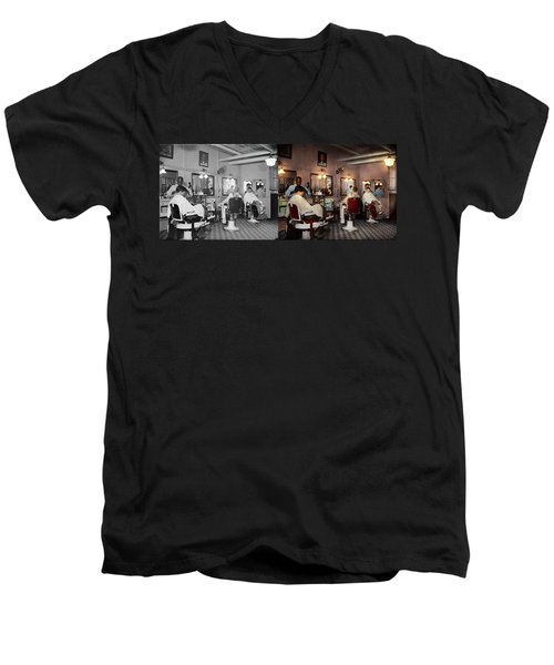 Men's V-Neck T-Shirt featuring the photograph Barber - Senators-only Barbershop 1937 - Side By Side by Mike Savad
