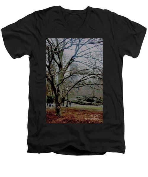 Bare Tree On Walking Path Men's V-Neck T-Shirt by Sandy Moulder
