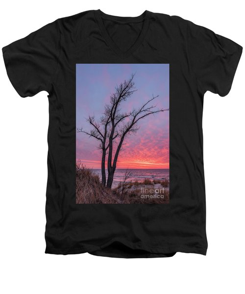 Bare Trees Overlooking A Beautiful Sunset Men's V-Neck T-Shirt