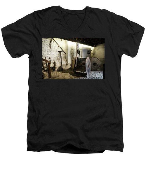Men's V-Neck T-Shirt featuring the photograph Barley Warehouse At Lockes Distillery by RicardMN Photography