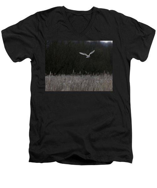 Barn Owl Hunting At Dusk Men's V-Neck T-Shirt