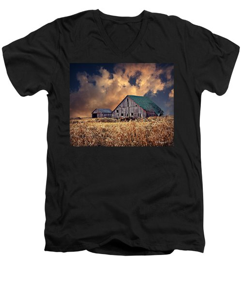 Barn Surrounded With Beauty Men's V-Neck T-Shirt by Kathy M Krause