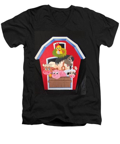 Barn With Animals Men's V-Neck T-Shirt by Brenda Bonfield