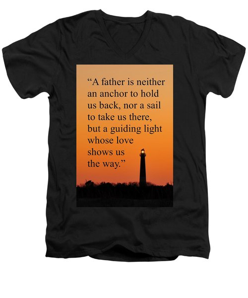 Barnegat Lighthouse With Father Quote Men's V-Neck T-Shirt