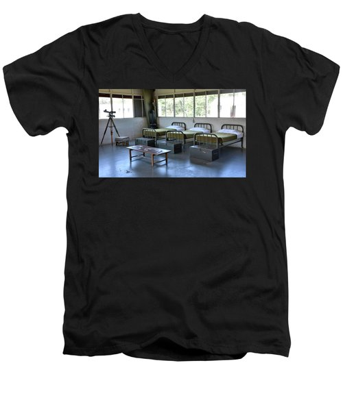 Men's V-Neck T-Shirt featuring the photograph Barrack Interior At Fort Miles - Delaware by Brendan Reals