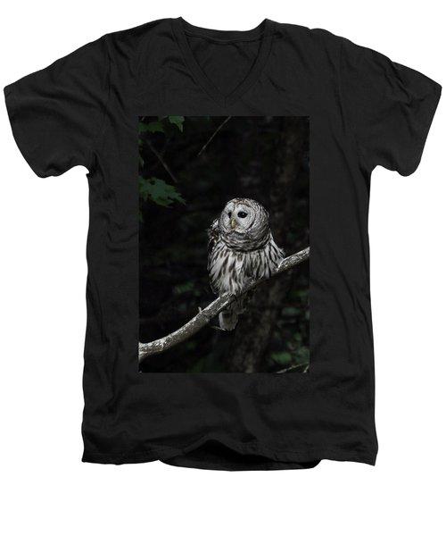 Men's V-Neck T-Shirt featuring the photograph Barred Owl 2 by Glenn Gordon