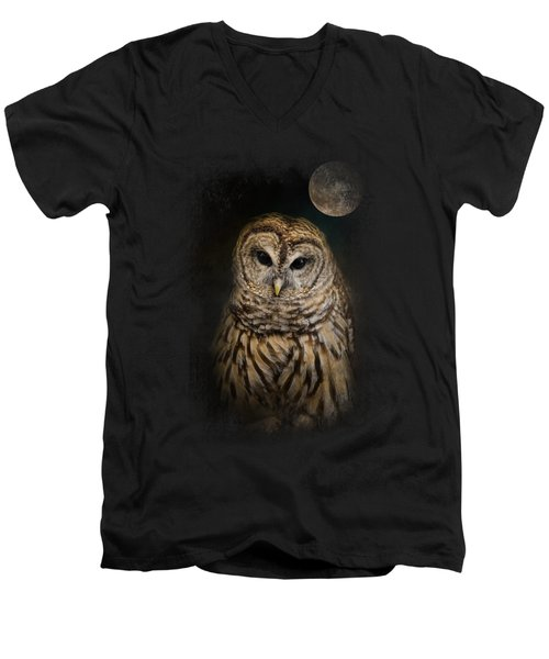 Barred Owl And The Moon Men's V-Neck T-Shirt by Jai Johnson