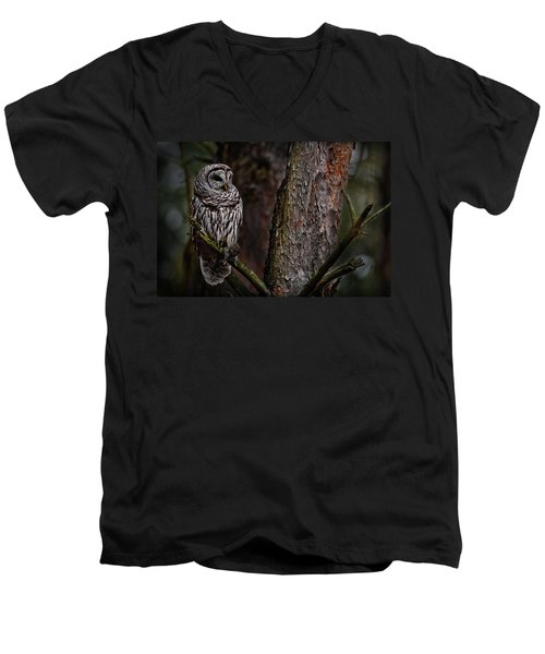 Men's V-Neck T-Shirt featuring the photograph Barred Owl In Pine Tree by Michael Cummings