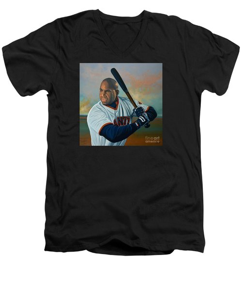 Barry Bonds Men's V-Neck T-Shirt by Paul Meijering