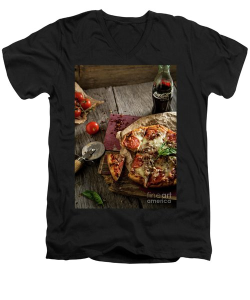 Basil And Mozzarella  Men's V-Neck T-Shirt by Deborah Klubertanz