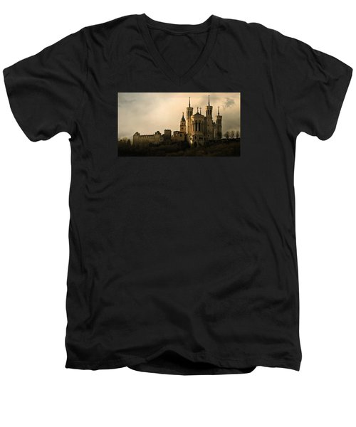 Basilica Of Our Lady Of Fourviere  Men's V-Neck T-Shirt by Katie Wing Vigil