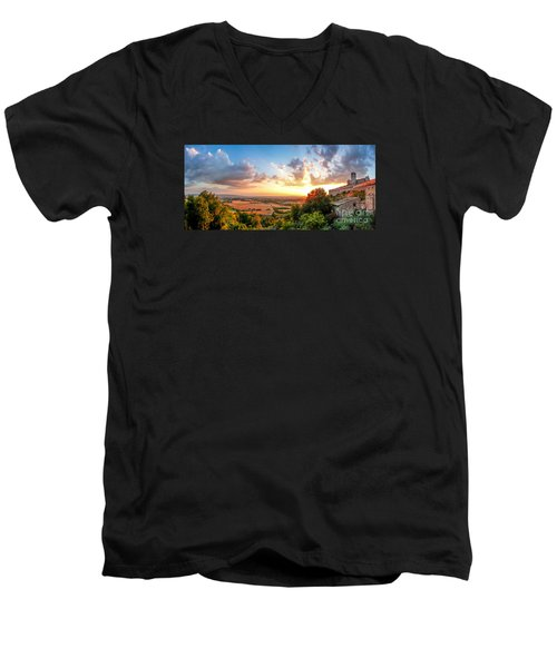 Basilica Of St. Francis Of Assisi At Sunset, Umbria, Italy Men's V-Neck T-Shirt by JR Photography