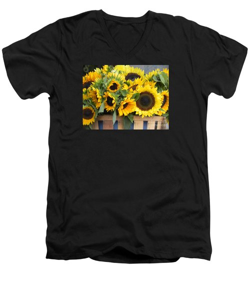 Men's V-Neck T-Shirt featuring the photograph Basket Of Sunflowers by Chrisann Ellis