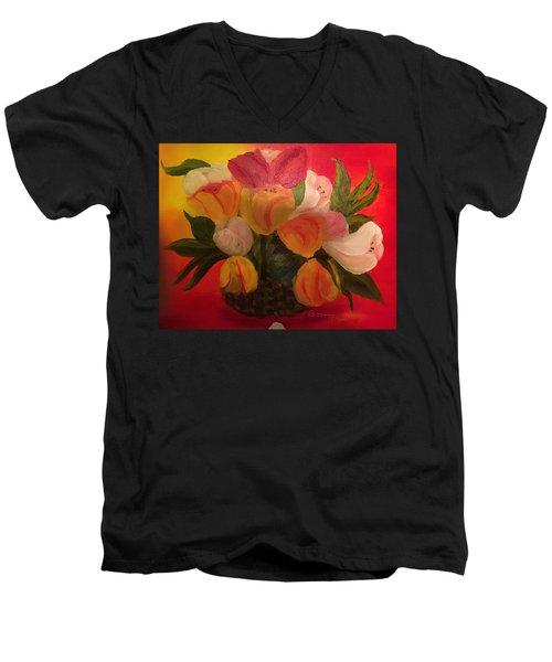 Basket Of Tulips Men's V-Neck T-Shirt