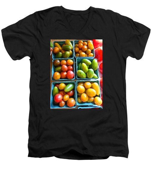 Baskets Of Baby Tomatoes Men's V-Neck T-Shirt by Dee Flouton