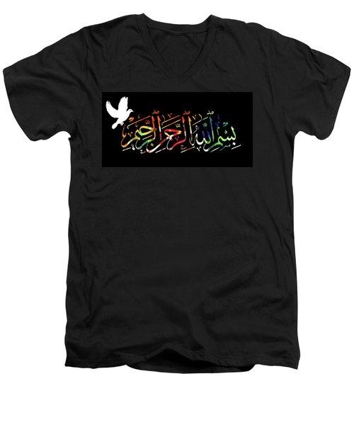Men's V-Neck T-Shirt featuring the photograph Basmala by Munir Alawi