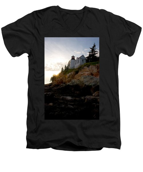 Bass Harbor Lighthouse 1 Men's V-Neck T-Shirt