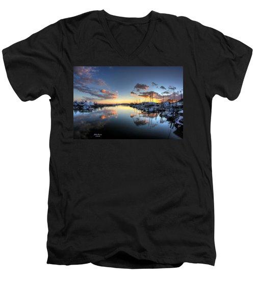 Bass Harbor Sunset Men's V-Neck T-Shirt by John Loreaux