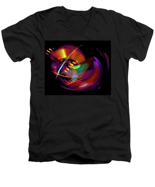 Men's V-Neck T-Shirt featuring the painting International Bass Station by DC Langer