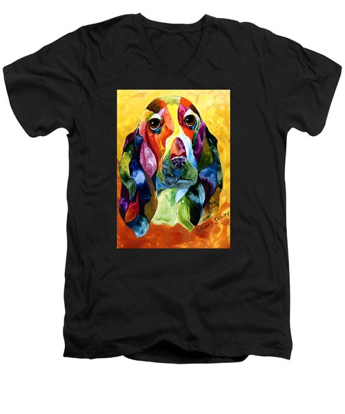 Basset Hound Blues Men's V-Neck T-Shirt by Sherry Shipley