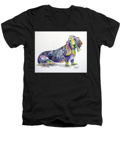 Basset Hound Horace Men's V-Neck T-Shirt by Patricia Lintner