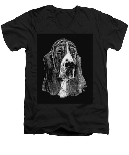 Men's V-Neck T-Shirt featuring the drawing Basset Hound by Rachel Hames