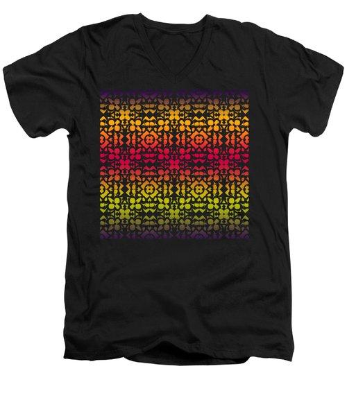 Batik Rustic Rainbow 200 - Black Men's V-Neck T-Shirt