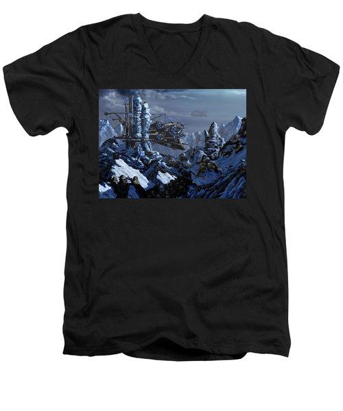 Men's V-Neck T-Shirt featuring the digital art Battle Of Eagle's Peak by Curtiss Shaffer