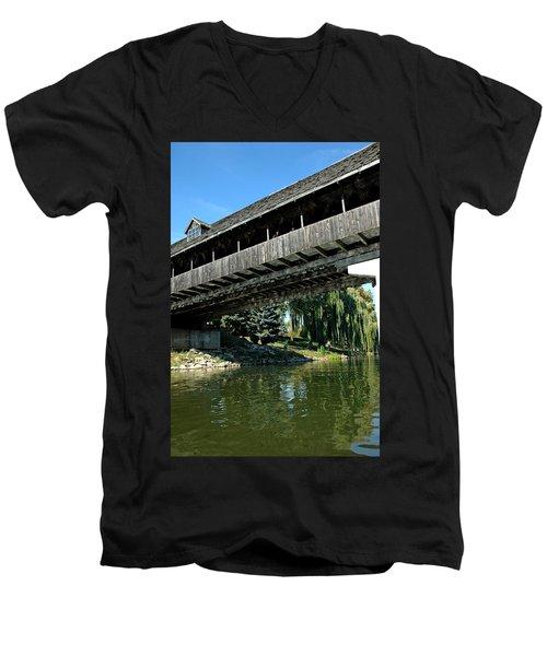 Men's V-Neck T-Shirt featuring the photograph Bavarian Covered Bridge by LeeAnn McLaneGoetz McLaneGoetzStudioLLCcom