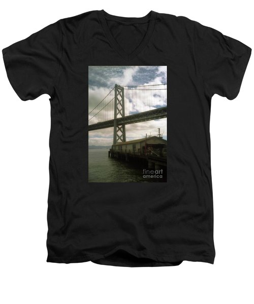 Bay Bridge San Francisco Waterfront Men's V-Neck T-Shirt