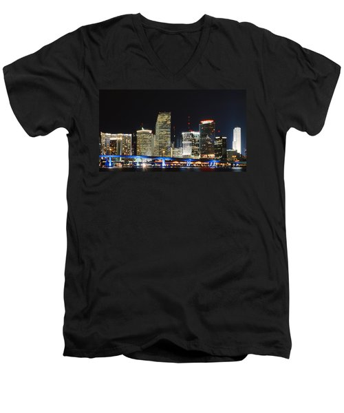 Bay Front Miami Skyline Men's V-Neck T-Shirt