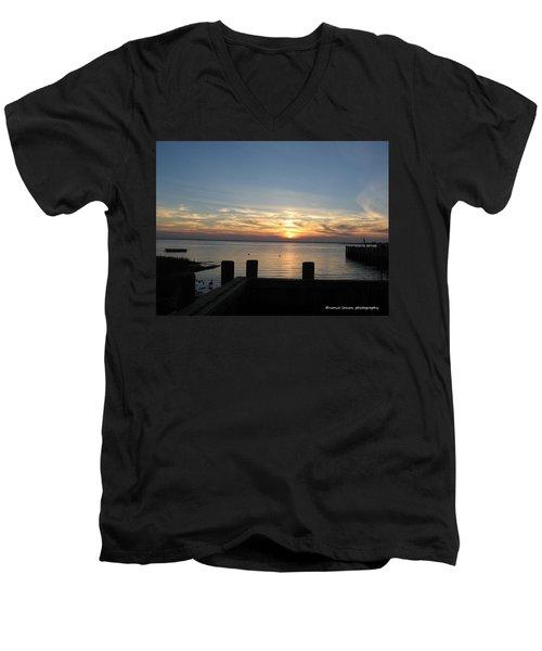 Bay Sunset Men's V-Neck T-Shirt by Nance Larson