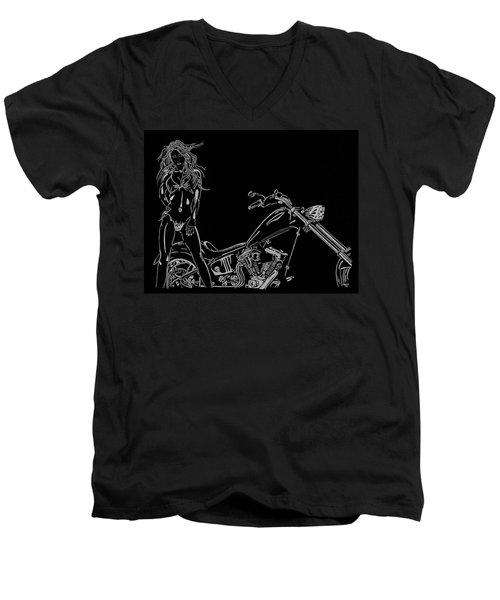Men's V-Neck T-Shirt featuring the drawing Bb Four by Mayhem Mediums