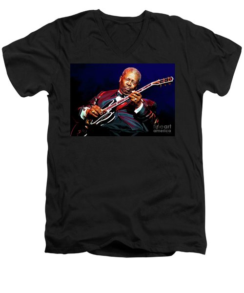 Bb King Men's V-Neck T-Shirt by Paul Tagliamonte