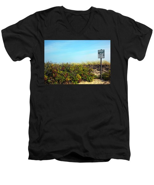 Men's V-Neck T-Shirt featuring the photograph Be Kind To The Dune Plants by Madeline Ellis