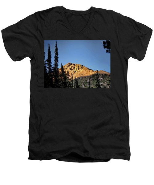 Men's V-Neck T-Shirt featuring the photograph Be Still Like A Mountain ... by Jim Hill