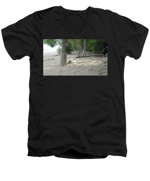 Beach At The Lake Men's V-Neck T-Shirt