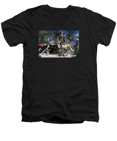 Beach Bar Men's V-Neck T-Shirt by Sally Weigand