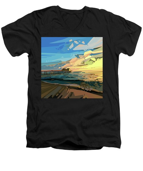 Beach Men's V-Neck T-Shirt by Bekim Art