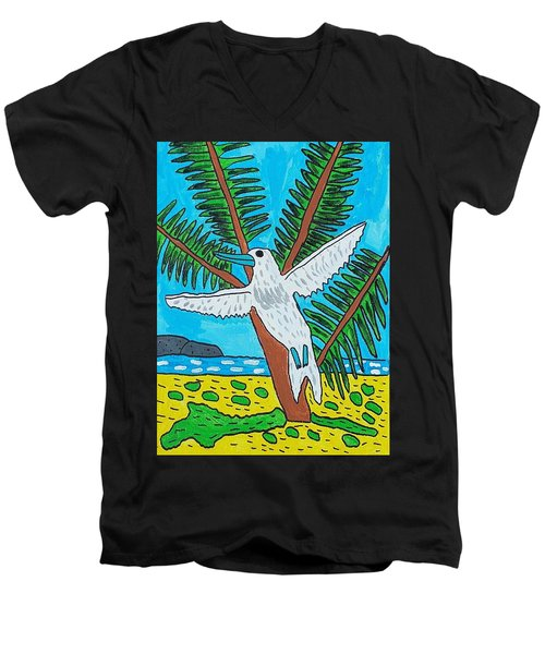 Beach Bird Men's V-Neck T-Shirt by Artists With Autism Inc