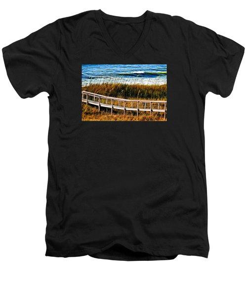 Men's V-Neck T-Shirt featuring the photograph Beach Boardwalk by Laura Ragland
