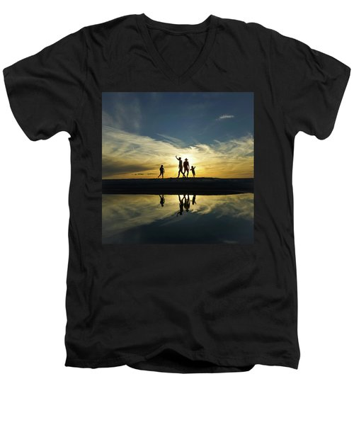Beach Dancing At Sunset Men's V-Neck T-Shirt