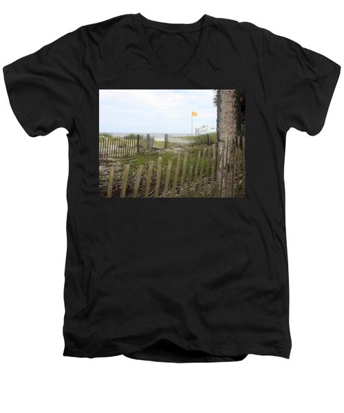 Beach Fence On Hunting Island Men's V-Neck T-Shirt by Ellen Tully