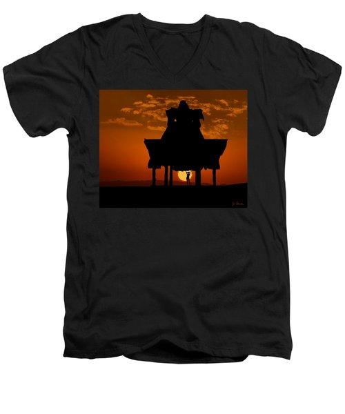 Men's V-Neck T-Shirt featuring the photograph Beach Shelter At Sunset by Joe Bonita