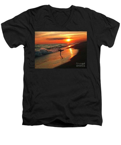 Beach Sunset And Cross Men's V-Neck T-Shirt by Luana K Perez