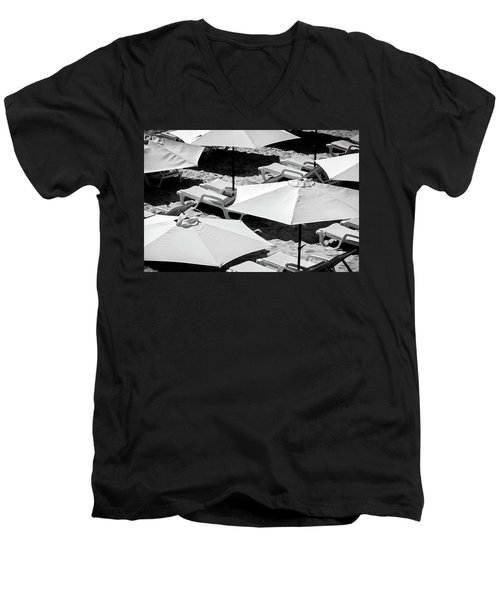 Men's V-Neck T-Shirt featuring the photograph Beach Umbrellas by Marion McCristall