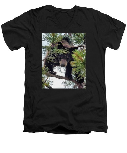 Bear Cub Playing In A Tree 2 Men's V-Neck T-Shirt