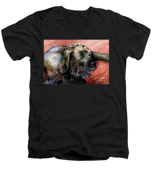 Men's V-Neck T-Shirt featuring the painting Bear by Lora Serra