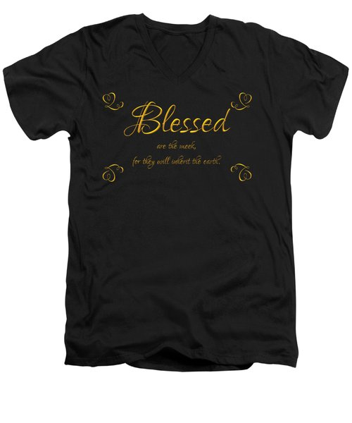 Men's V-Neck T-Shirt featuring the digital art Beatitudes Blessed Are The Meek For They Will Inherit The Earth by Rose Santuci-Sofranko