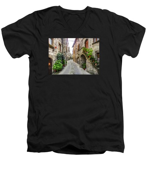 Beautiful Alleyway In The Historic Town Of Vitorchiano, Lazio, I Men's V-Neck T-Shirt by JR Photography